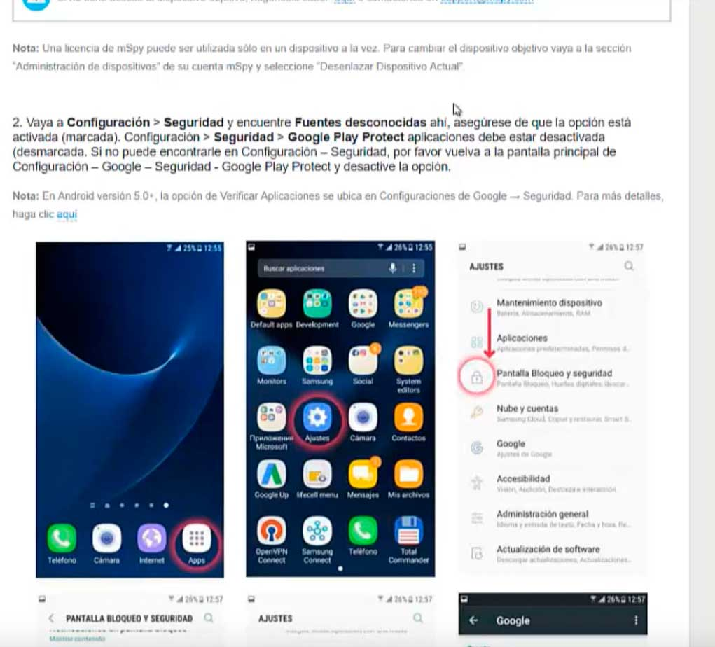 mSpy en Android Instalar