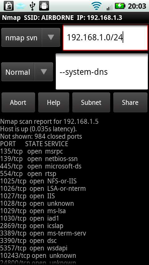 WiFi para Android Hacking Nmapde