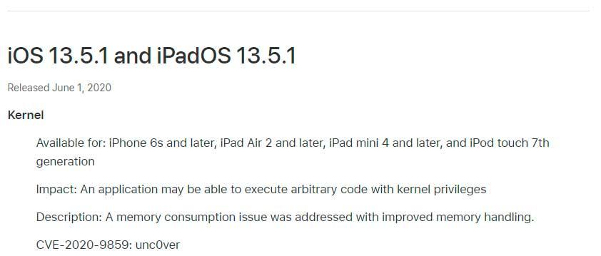 Apple introdujo el iOS 13.5.1 para el iPhone