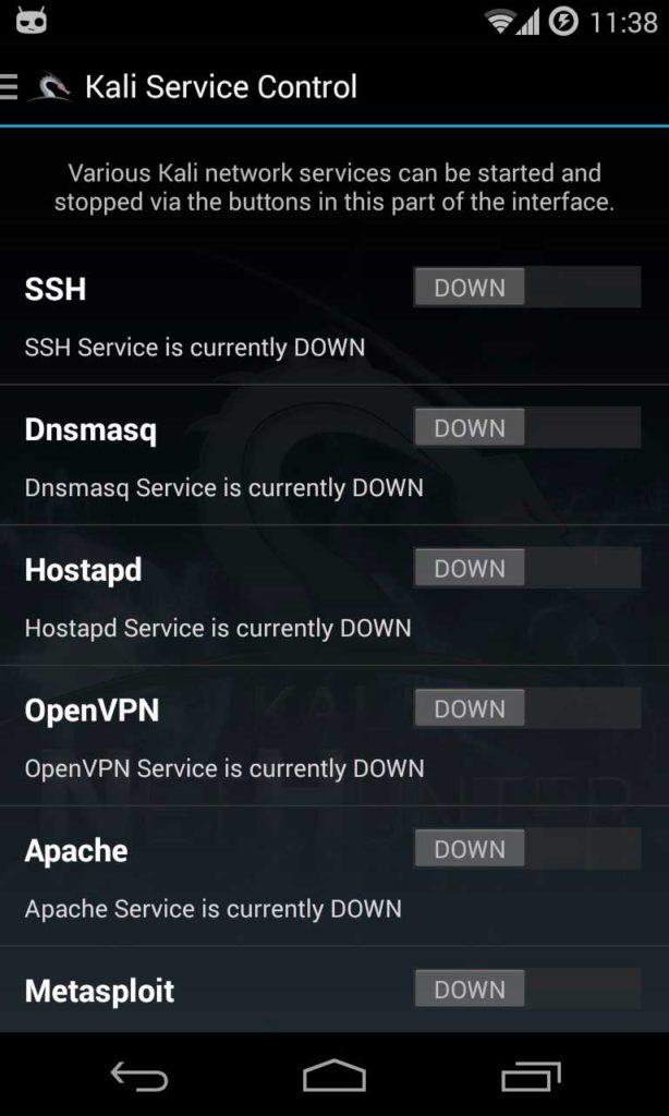 servicio de pantalla de inicio de NetHunter